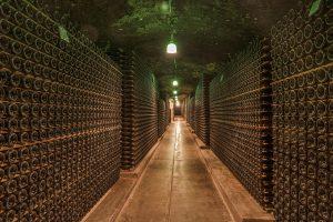 Celler amb un gran nombre d'ampolles de vi.