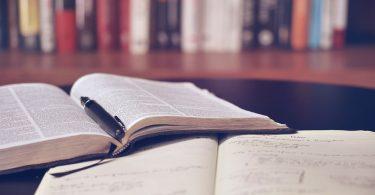 Imatge en primer pla de dos llibres a una biblioteca