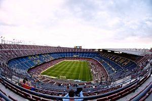 Vista del Camp Nou des d'una de les grades altes