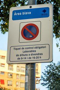 Senyalització d'aparcament a la Zona Blava
