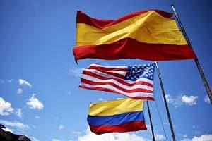Banderes d'Espanya, Estats Units i Colòmbia