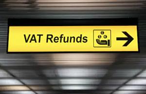 Cartell de devolució d'impostos a l'aeroport