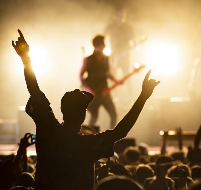 Noi sobre el públic a un concert de rock