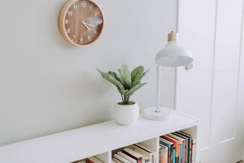 moble amb llibres, làmpara i una planta